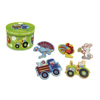 scratch puzzel: beginnerspuzzels - boerderij ca. 13-19cm, met 5 puzzles 3-4-5-6-8 stuks, in karton, in doos diam.18xh12cm, 2+