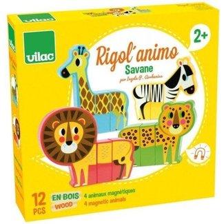Vilac Speelgoed, Magneten - magnetische blokpuzzel Safari dieren, 12 stukjes
