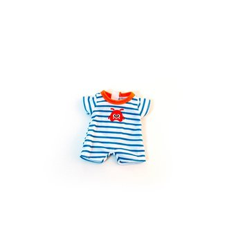 ML Poppen: PYJAMA blauw gestreept 21cm,  in plastic zakje met kapstok