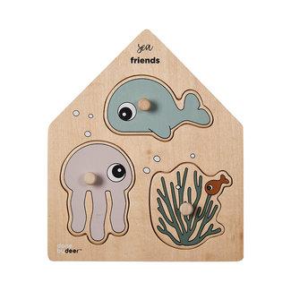 Done by deer Puzzels, Houten puzzels - knoppuzzel zeedieren (Sea Friends)