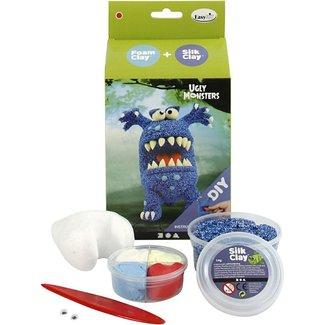 Creativ Company Knutselpakket - boetseren, klei: Monster, blauw