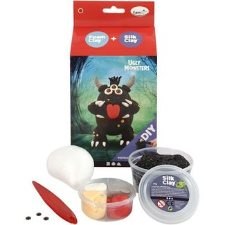 Creativ Company Knutselpakket - boetseren, klei: Monster zwart