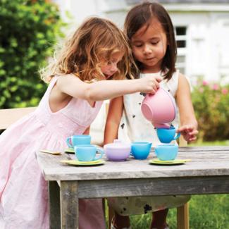 Greentoys Buitenspeelgoed - Theeset roze theekan (Tea Set - pink teapot)