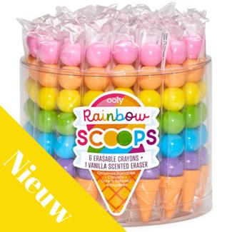Ooly Knutselen - kleurpotloden uitwisbaar incl. gum met vanillegeur, ijsjes (rainbow scoops)