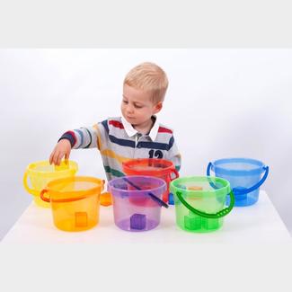 Tickit Buitenspeelgoed - gekleurde transparante emmer, rood