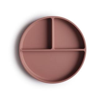 Mushie Siliconen bord met vakken (incl. zuignap)- cloudy mauve