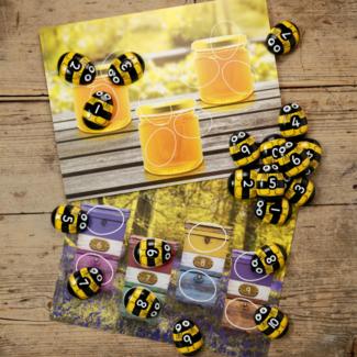 Yellow Door Sensomotorische speelstenen, Educatief - getallen kaarten bijen 1-10 (honey bee early number cards), set van 16