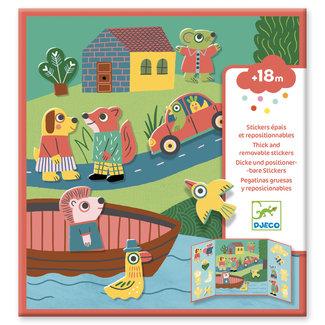 Djeco Knutselen, Stickers - herbruikbare stickers dieren 18m+
