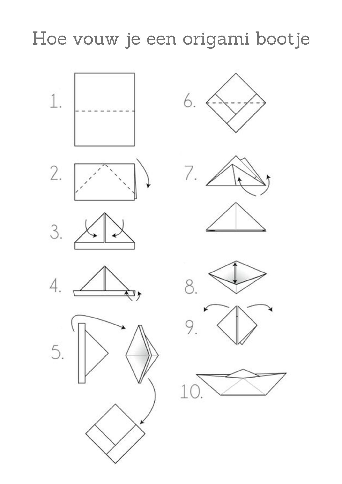 Origami bootje vouwen