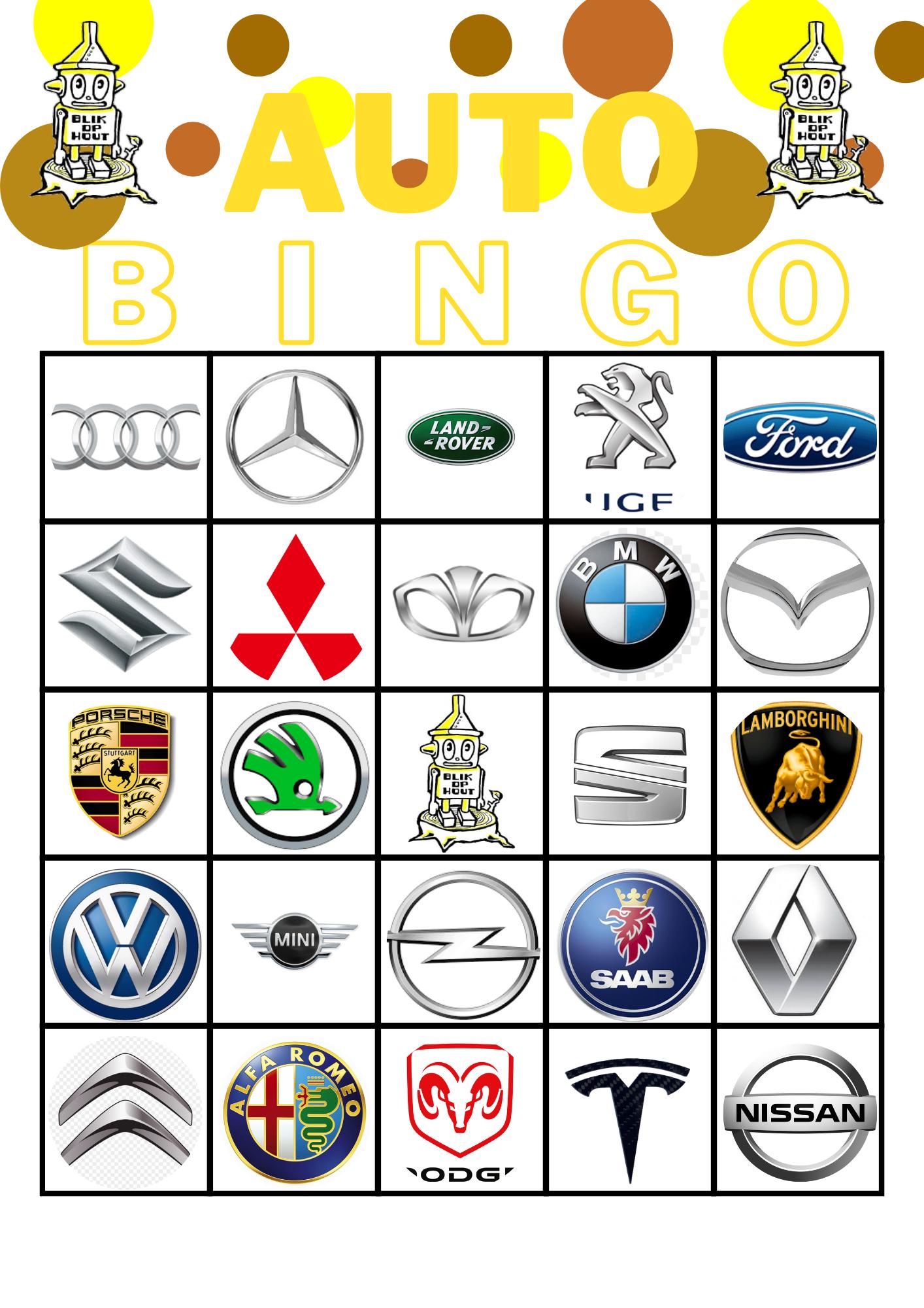 Auto bingo voor oudere kinderen