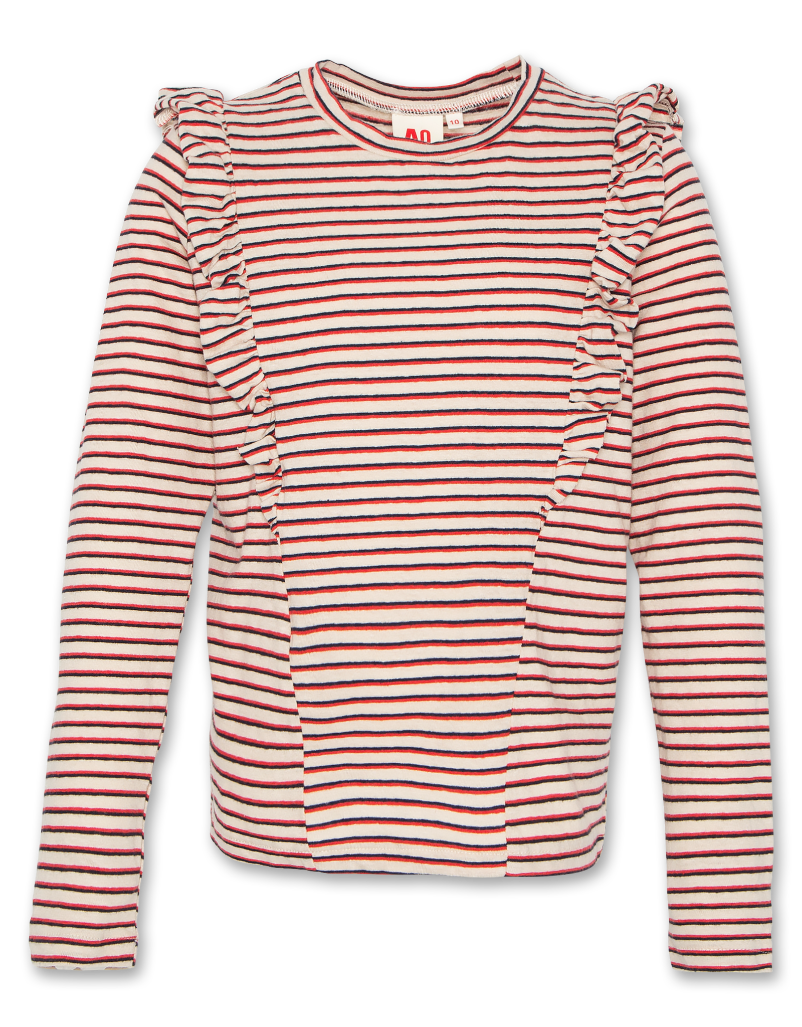 AMERICAN OUTFITTERS ruffle striped t-shirt Red