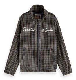 SCOTCH & SODA Track top in yarn dyed check with embroidered logo 0218-Combo B