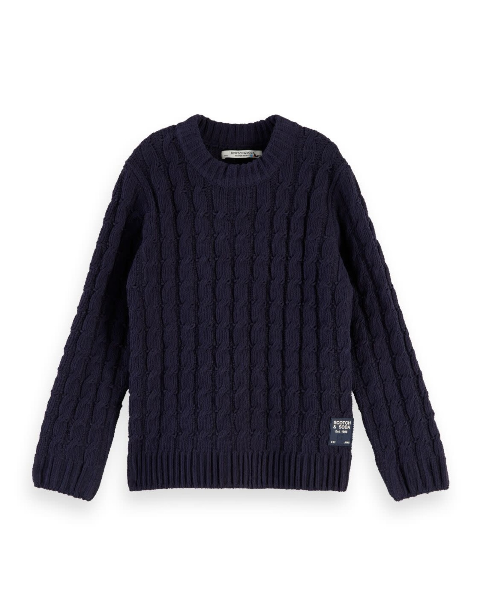 SCOTCH & SODA Crewneck pull with cable 02-Night