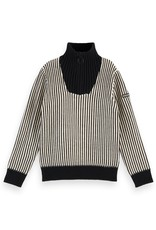 SCOTCH & SODA Half-zip pull in yarn dyed stripe Combo S