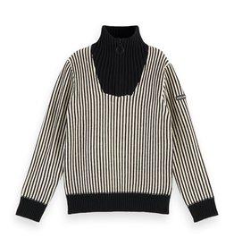 SCOTCH & SODA Half-zip pull in yarn dyed stripe Combo S