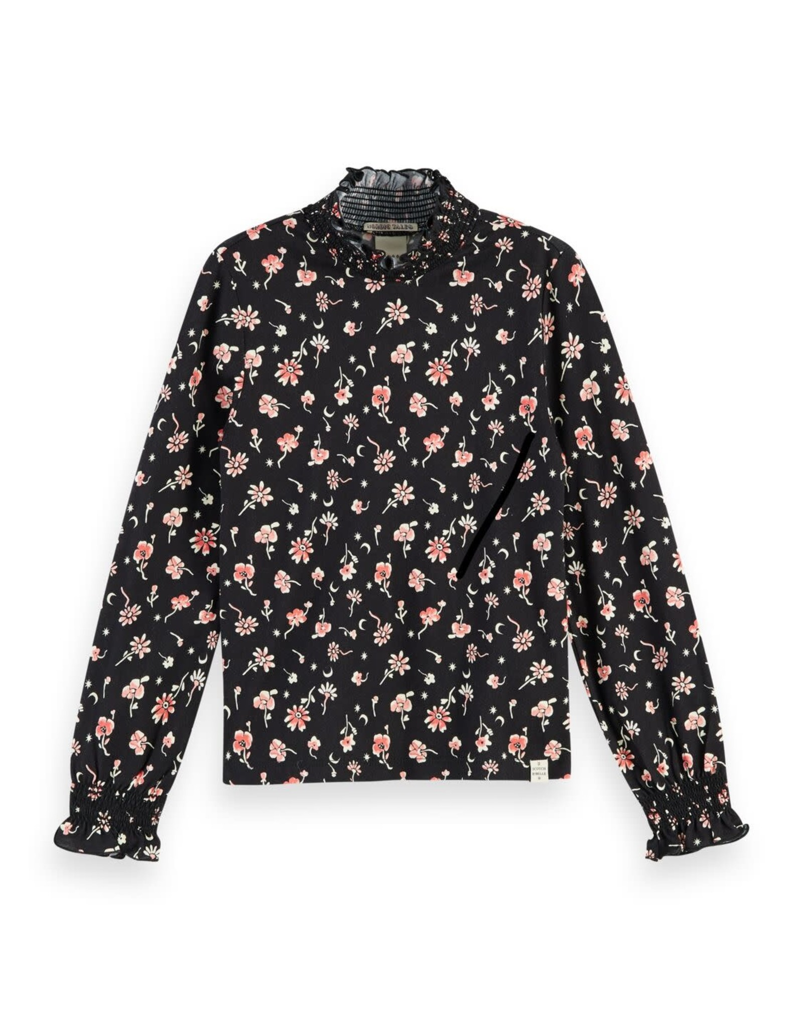SCOTCH REBELLE All-over printed long sleeve tee with smock details 0222-Combo F