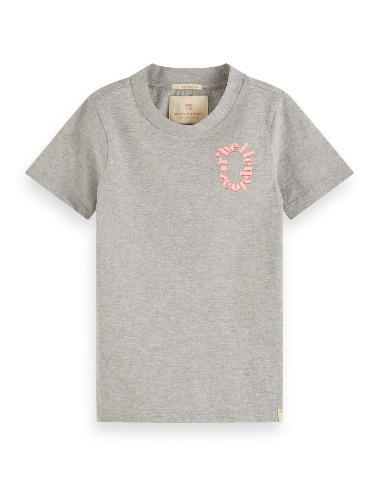 SCOTCH REBELLE Organic cotton tee with small chest artwork 0606-Grey Melange
