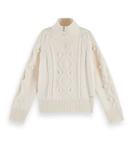 SCOTCH REBELLE Half-zip cable knit pullover Off White