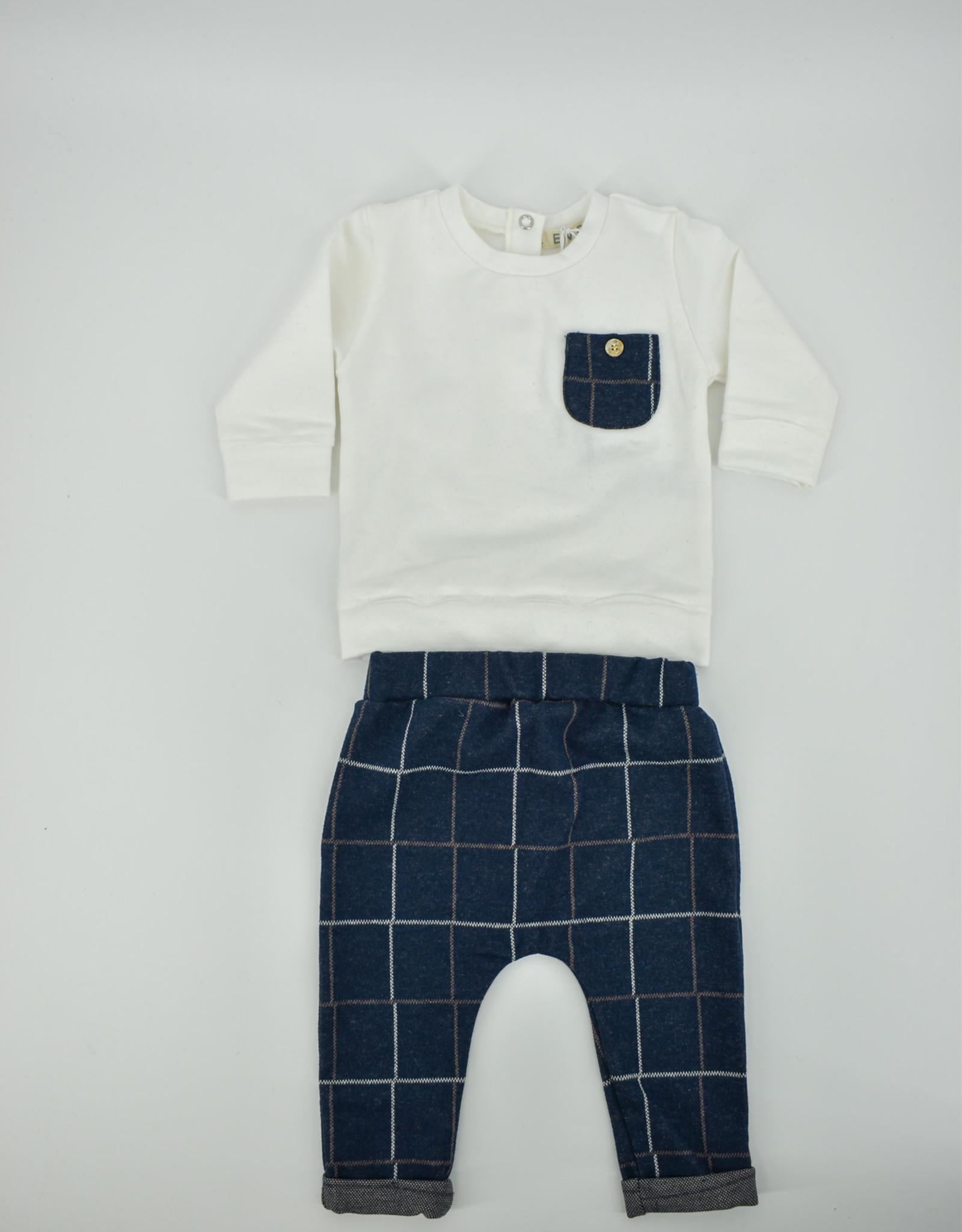 EMC Set witte t-shirt geruite broek CO2703
