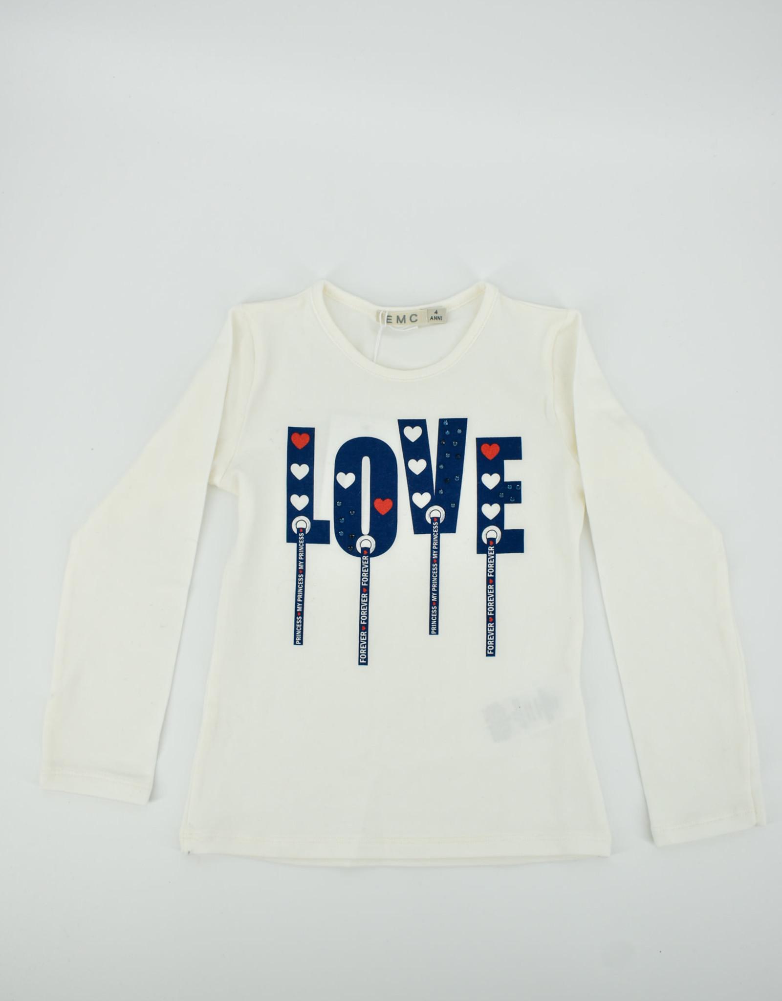 EMC Witte t-shirt met blauwe tekst BX1727