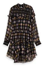 SCOTCH REBELLE Drapey ruffle dress with all-over print 0221-Combo E
