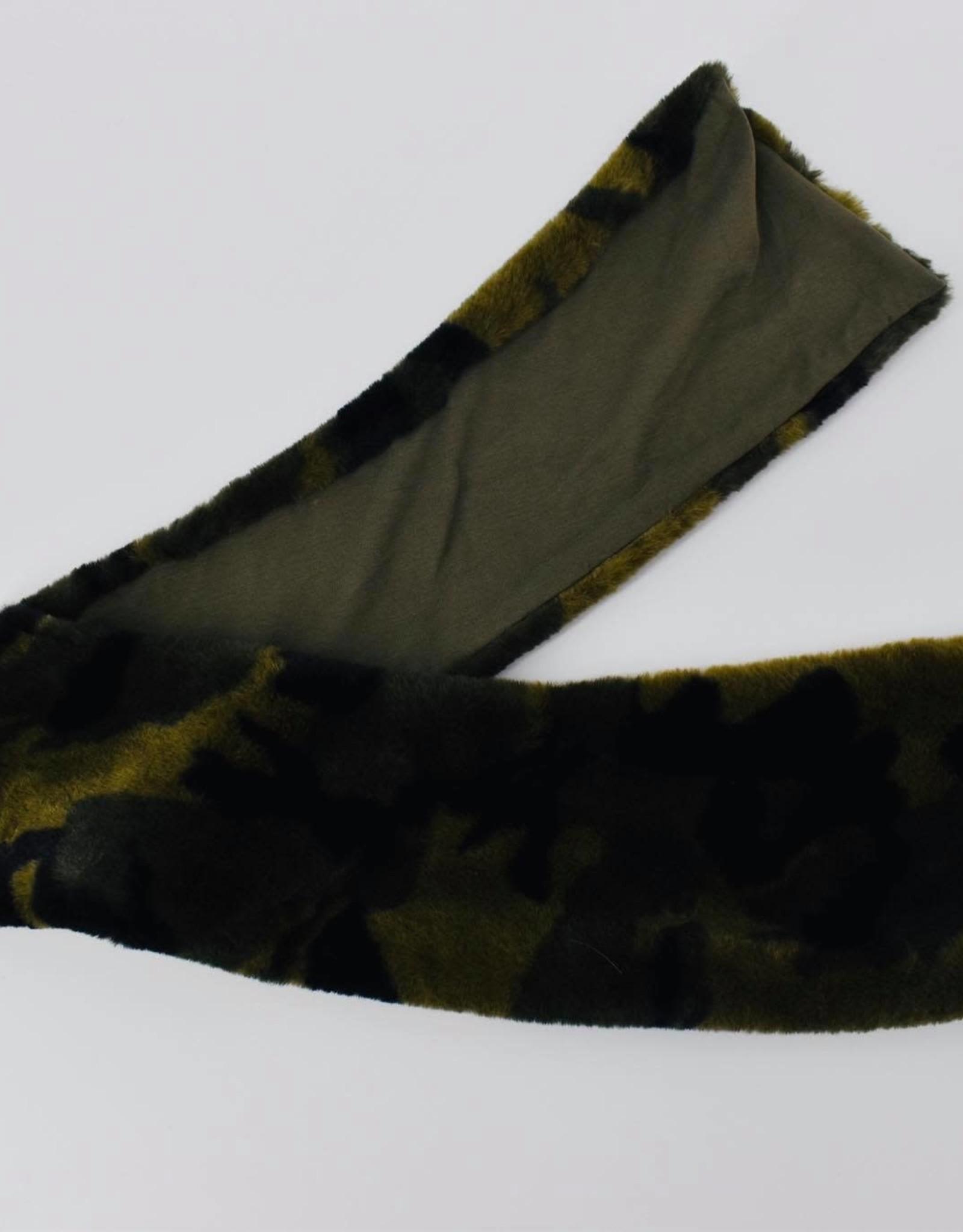 ELSY Sciarpa Mimetica Pelliccia Verde Militare