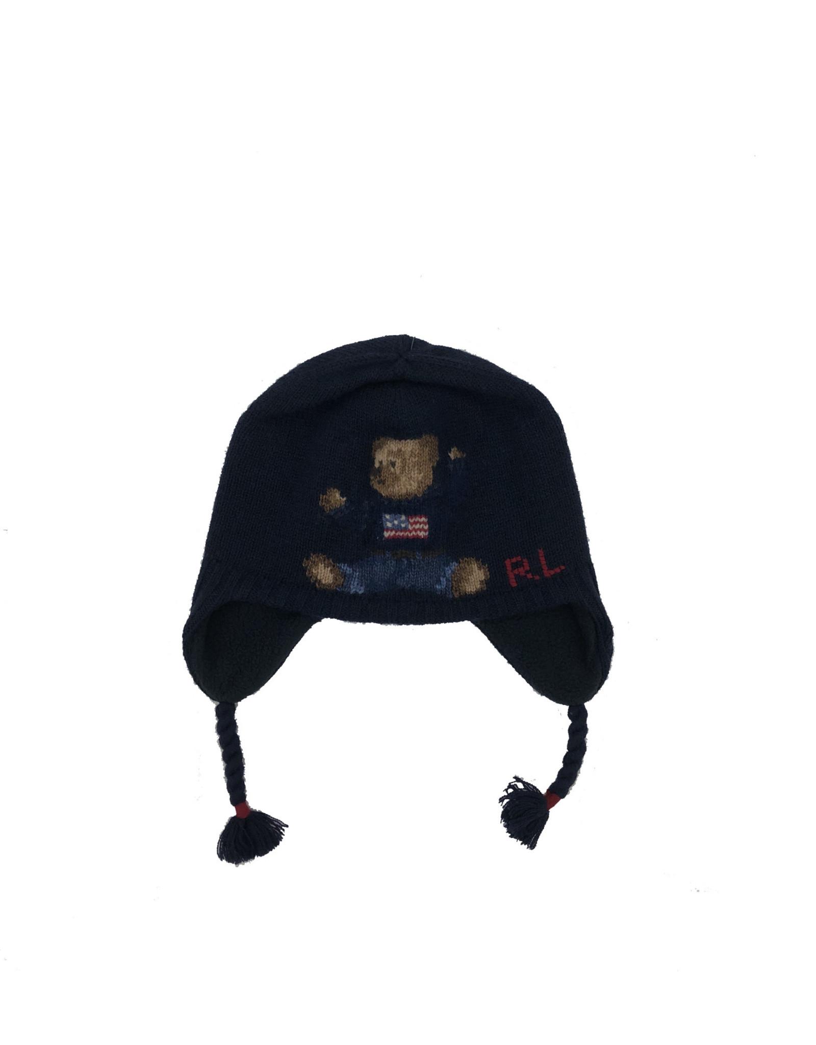 RALPH LAUREN Bear Earflap-Apparel Accessories-Hat Navy