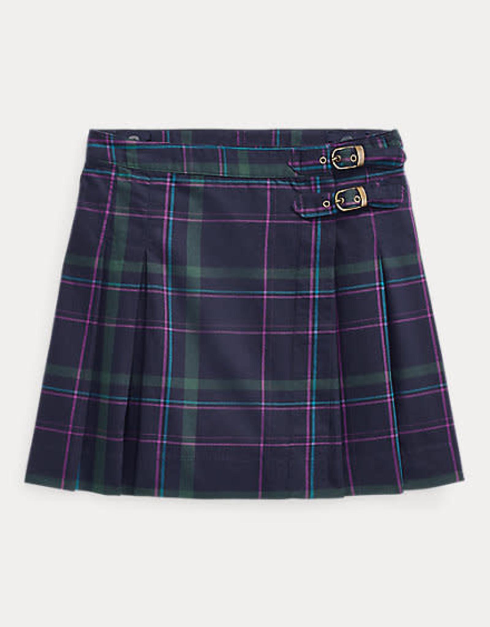RALPH LAUREN Plaid Kilt-Bottoms-Skirt Navy Multi