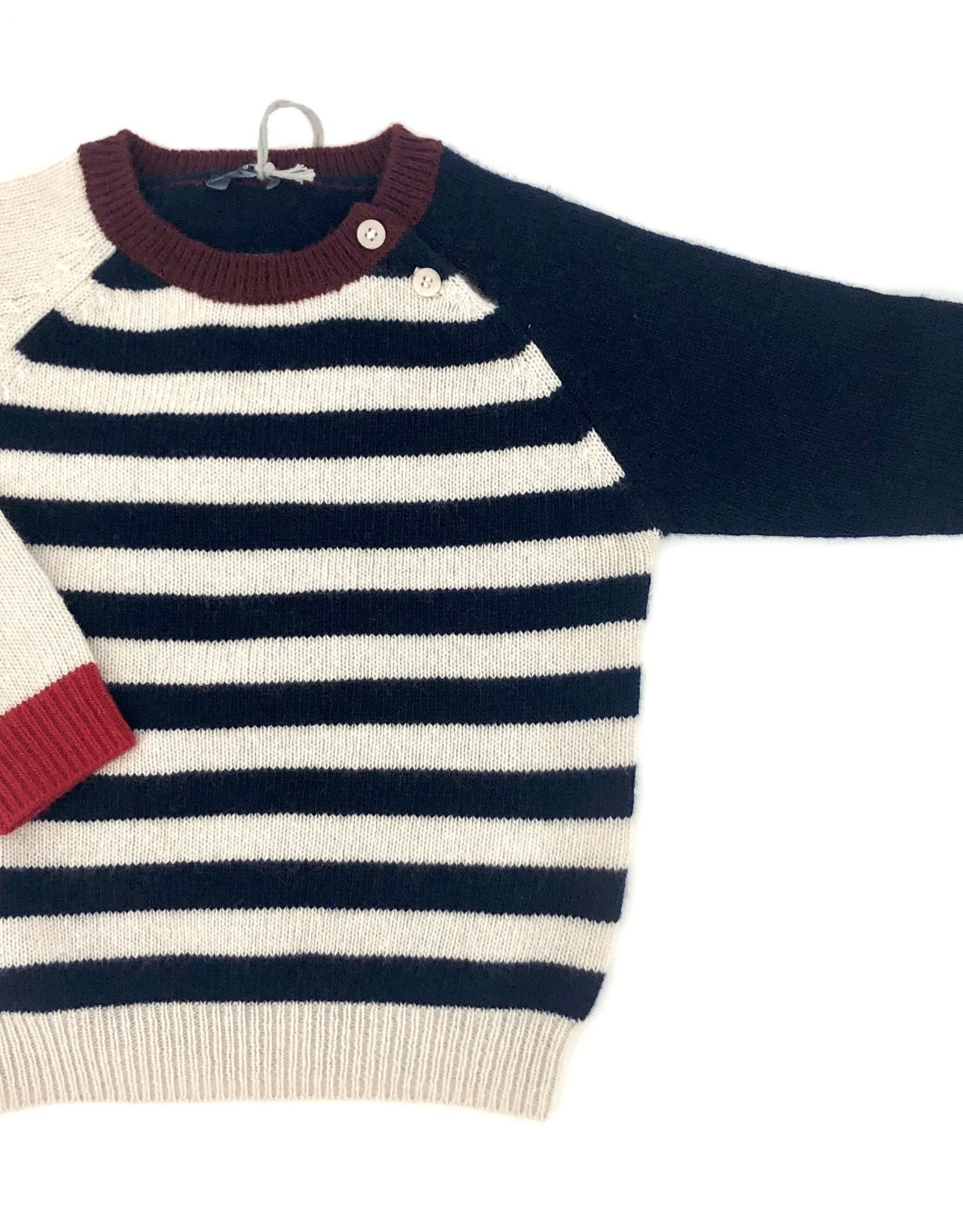 IL GUFO Sweater Natural/Navy Blue