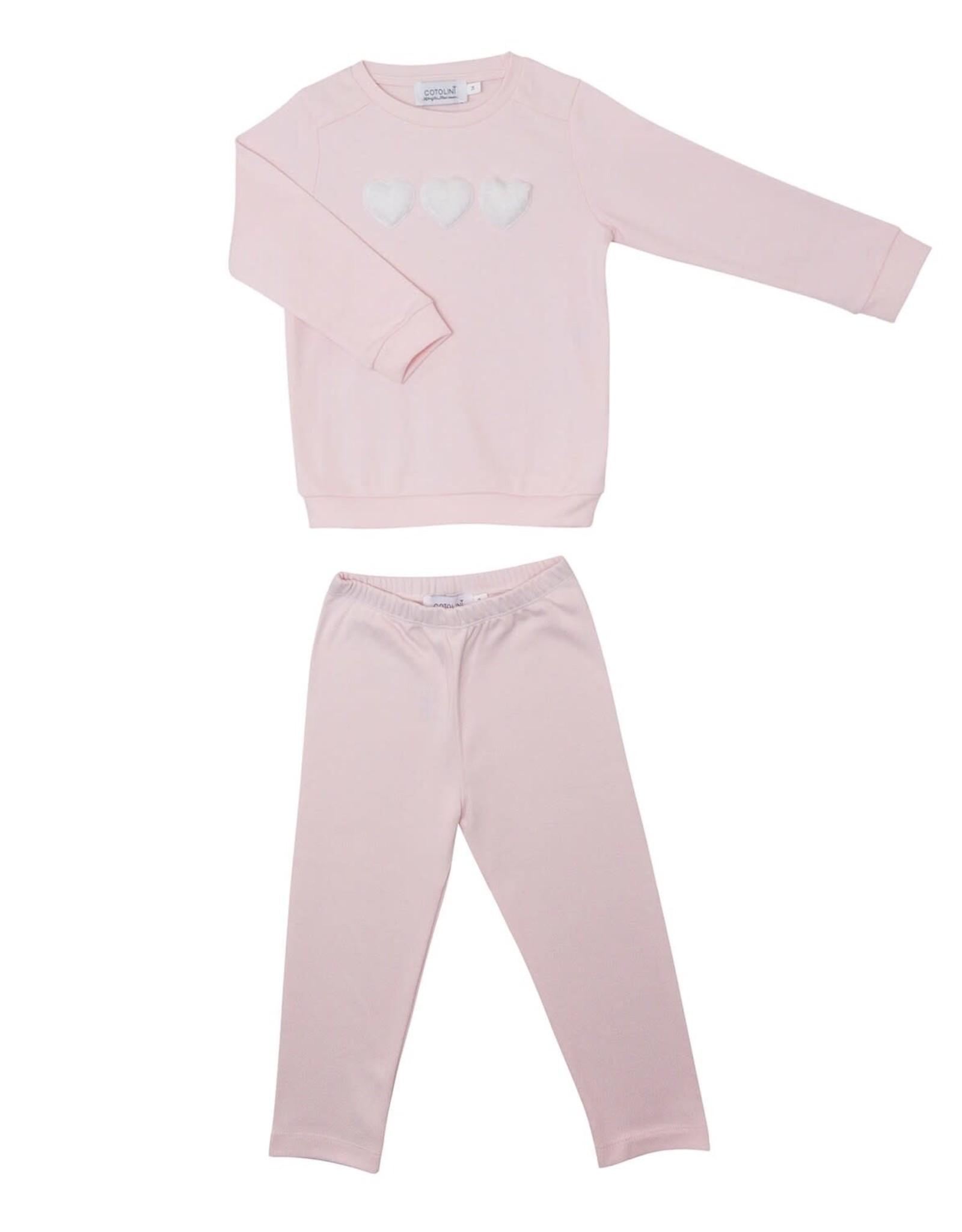 COTOLINI Pyjama fille sweatshirt rose