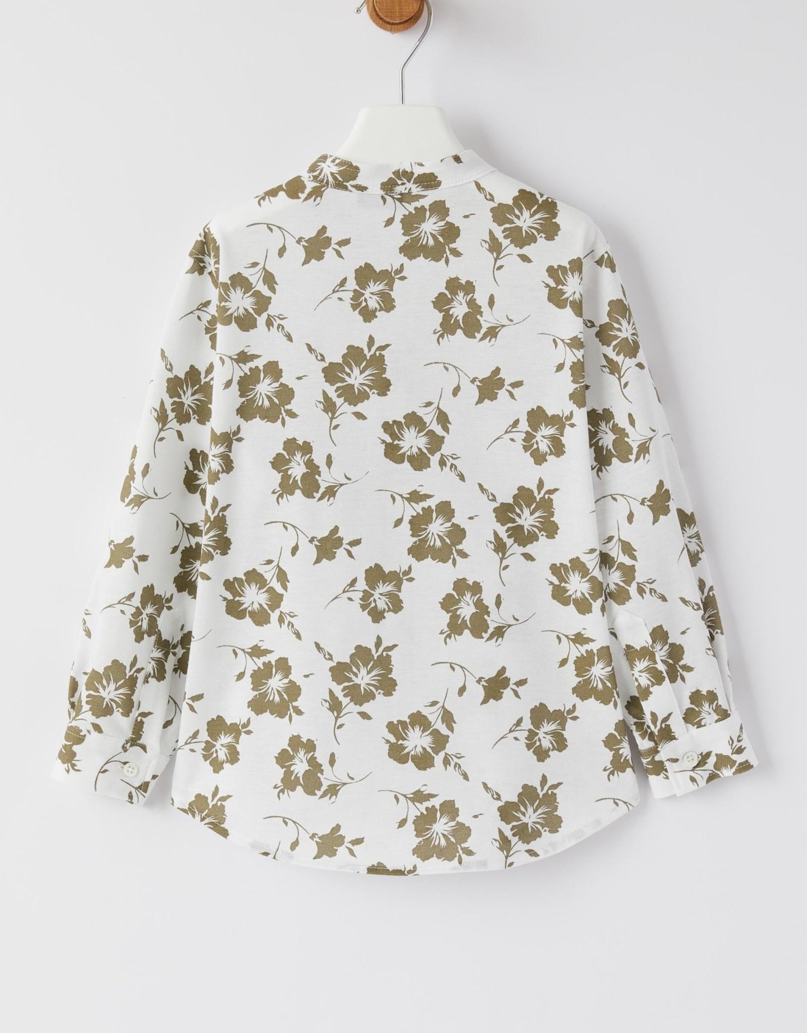 IL GUFO IL GUFO hemd jongens bloemen khaki