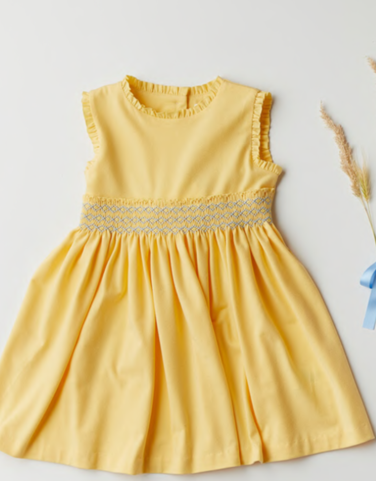 MALVI & CO MALVI & CO Geel kleedje blauw detail