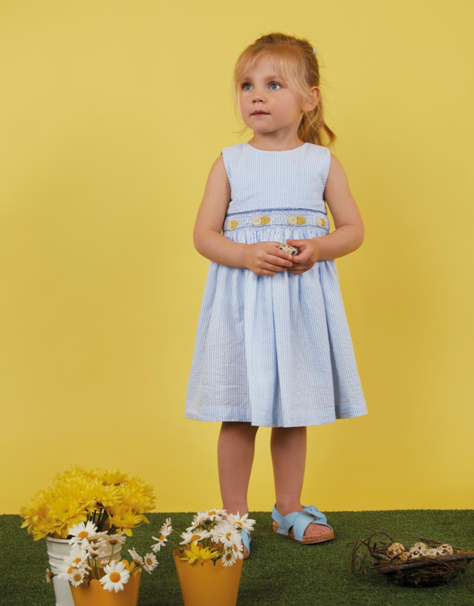MALVI & CO MALVI & CO blauw kleedje met streepjes en geel detail
