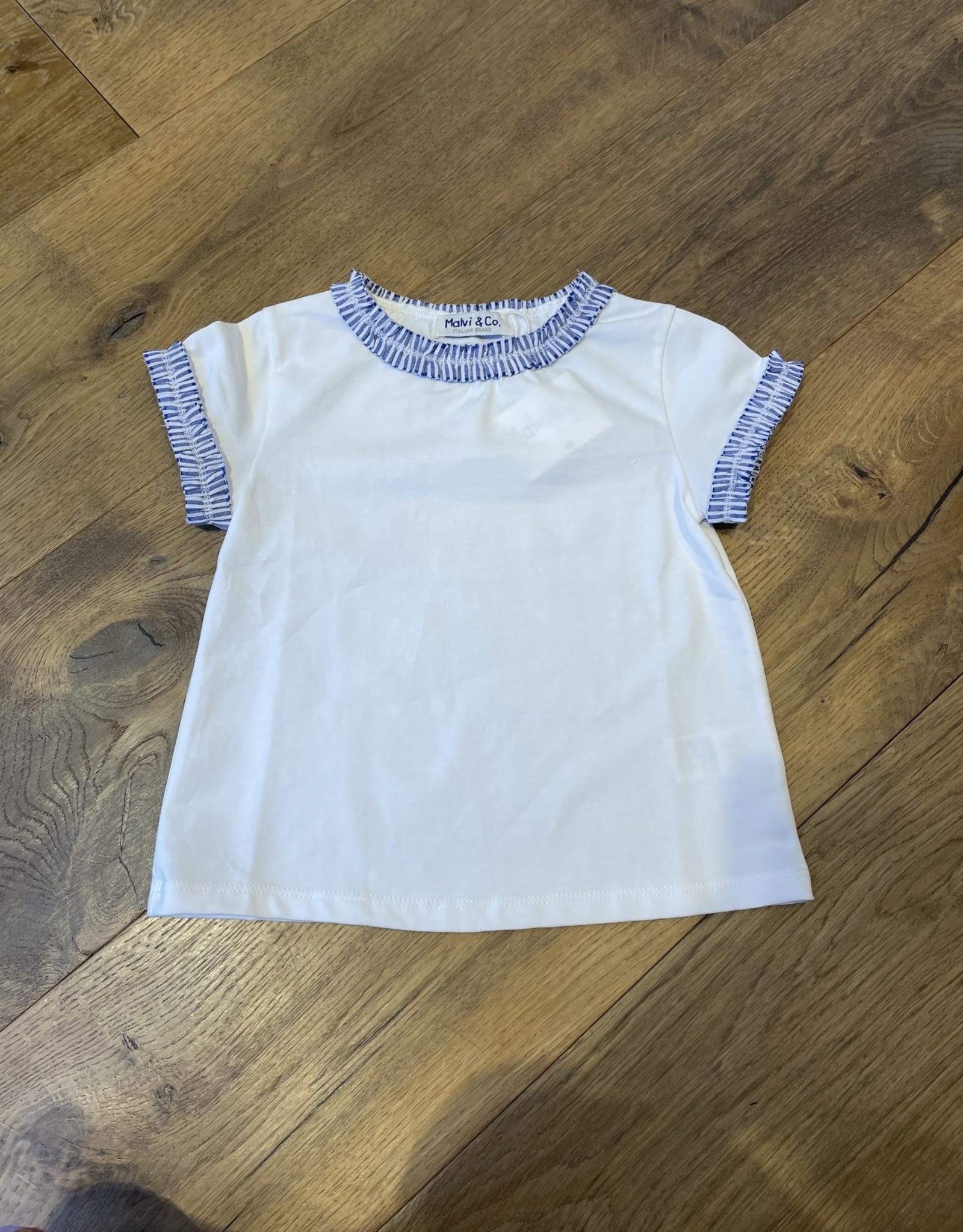 MALVI & CO MALVI & CO T-shirt blauw detail aan mouw