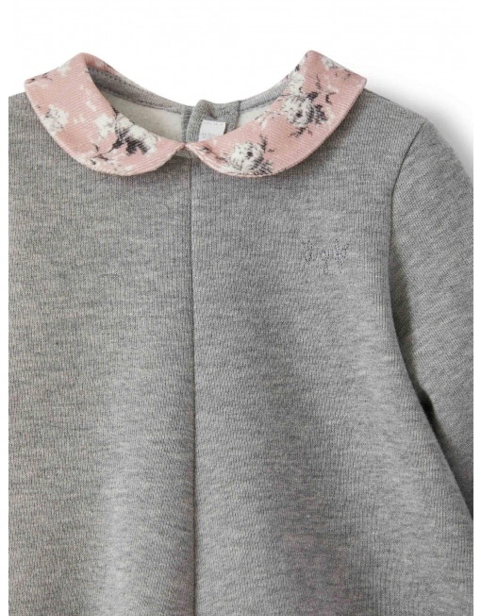 IL GUFO IL GUFO Kleedje grijs + detail bloem