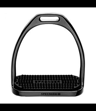 Sprenger FILLIS stijgbeugels - roestvrij staal antraciet, maat 120 mm met zwarte rubberen pad