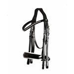 LJ Leathers PS Superior Weymouth Rod and Trens Lacquer noseband black/white Front part with crystals //exclusive reins