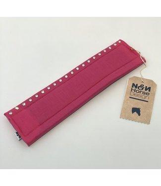 N&N Horse Design Nasenschoner Shorty, 1 reihig Swarovski, Fuchsia Fuchsia 25x7cm