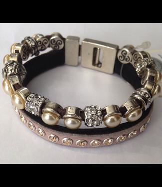 JUDI Bracelet Vienna Crown Pearls Cream Gold /Vienna wih leather Nude 19cm