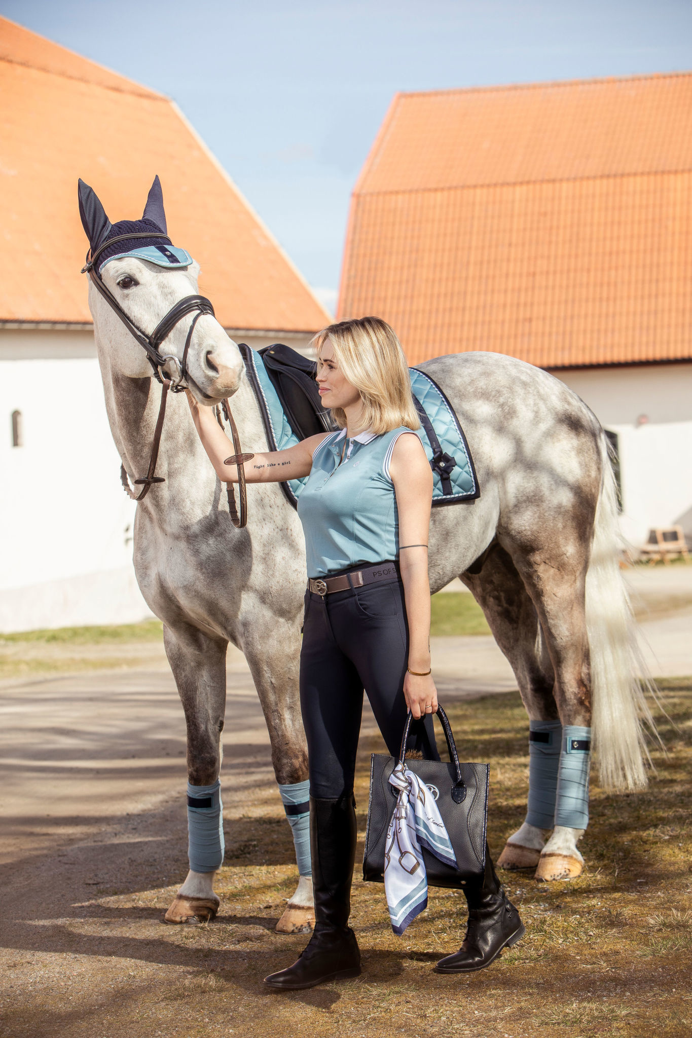 PS Of Sweden Adine Scarf Aqua/Navy 55 x 55cm