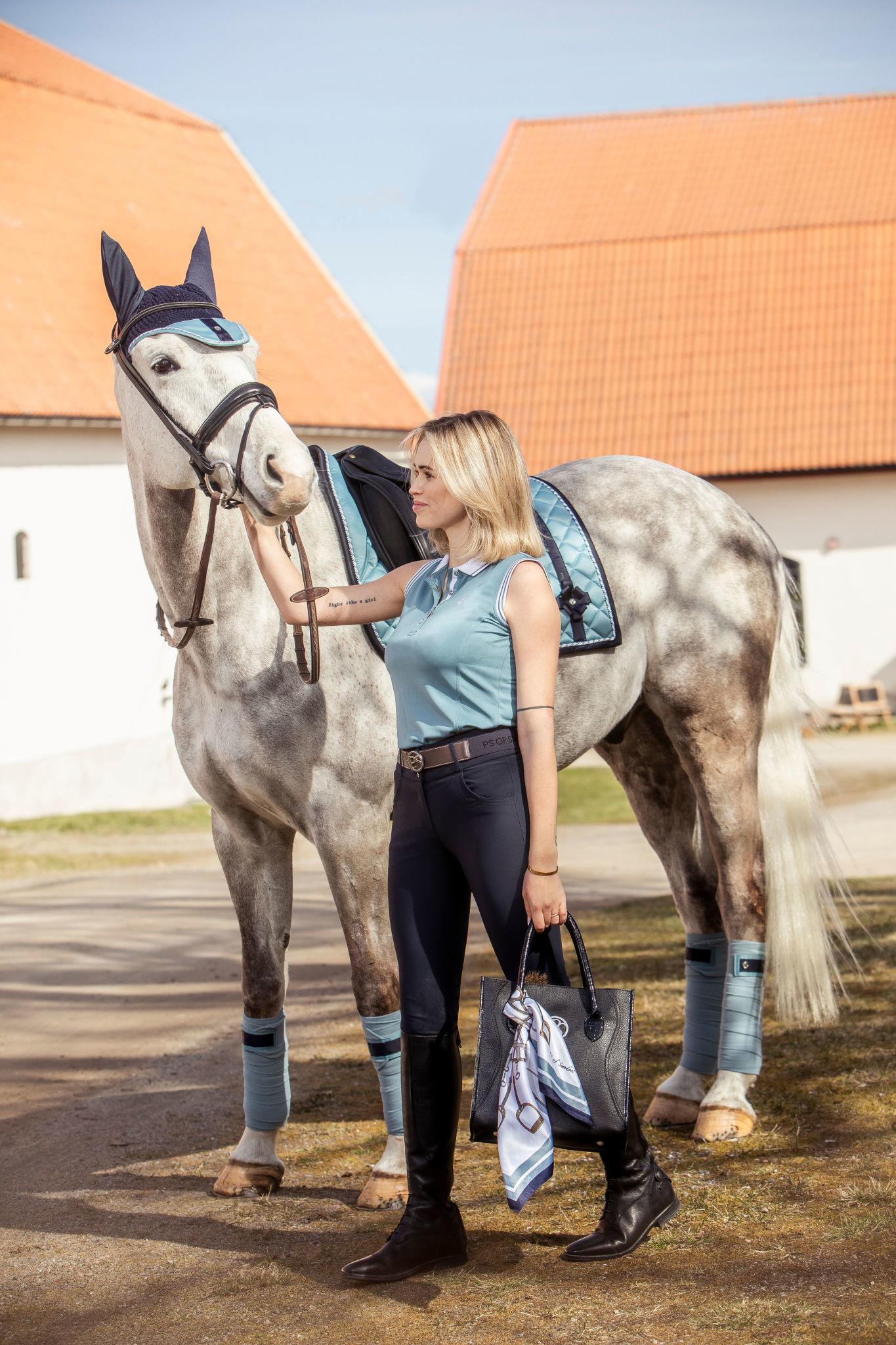 PS Of Sweden Brigitte Belt With leather And Elastic Ribb Aqua