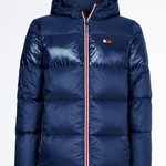Tommy Hilfiger Equestrian Hooded Down Jacket TH Style Desert Sky