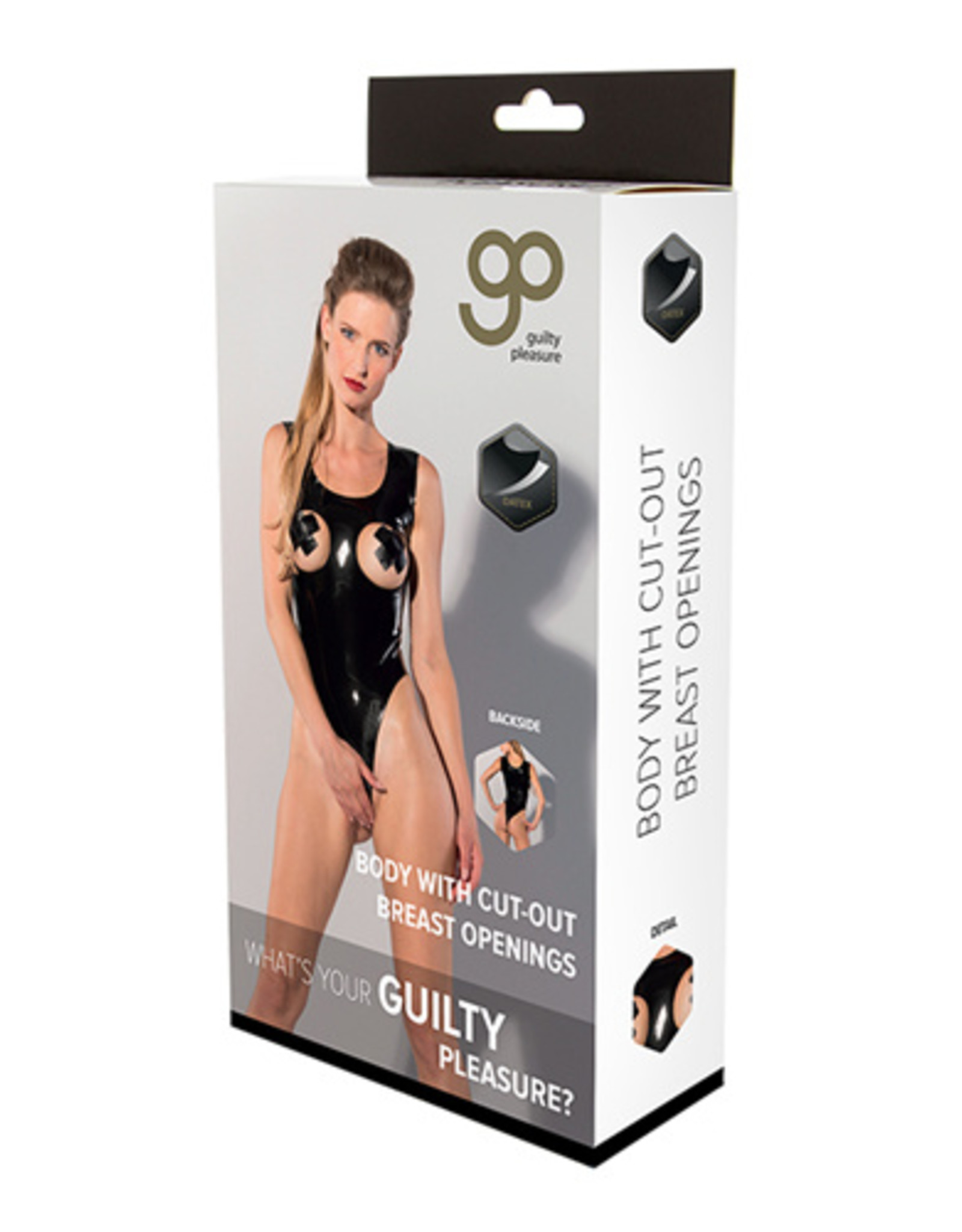 Guilty Pleasure GP Datex Body Met Open Cups - Zwart