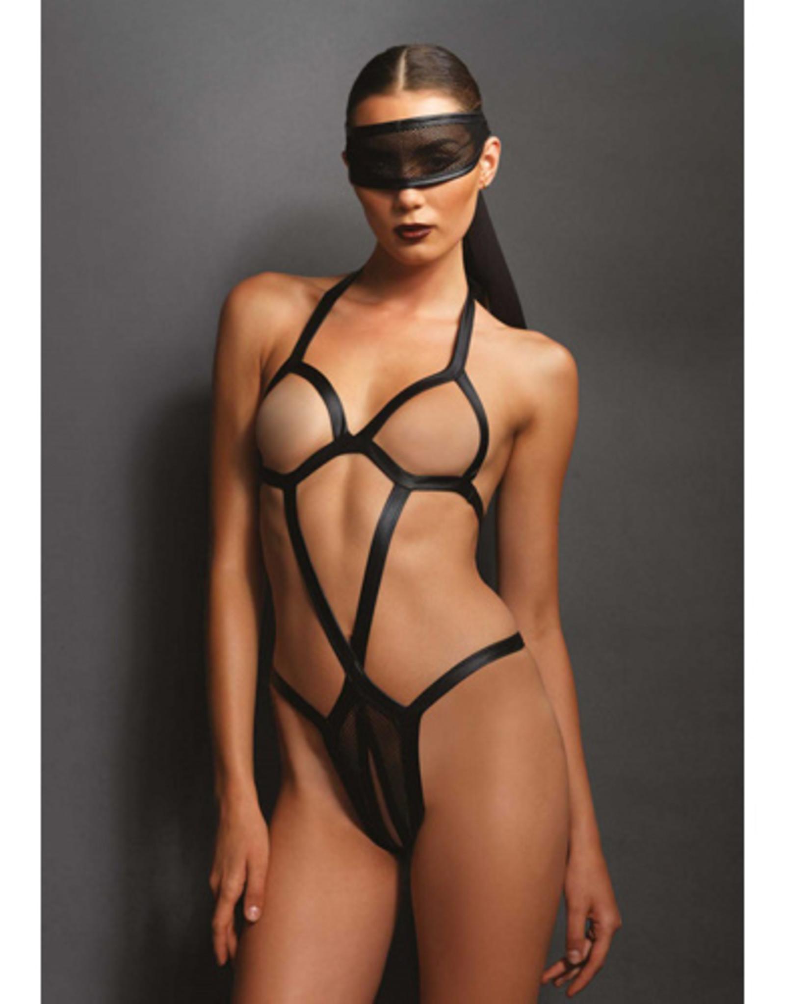 KINK Bondage body met bijpassend oogmasker - Zwart