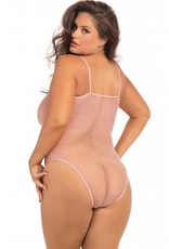 Rene Rofe Transparante Body Undone Plus-Size - Roze