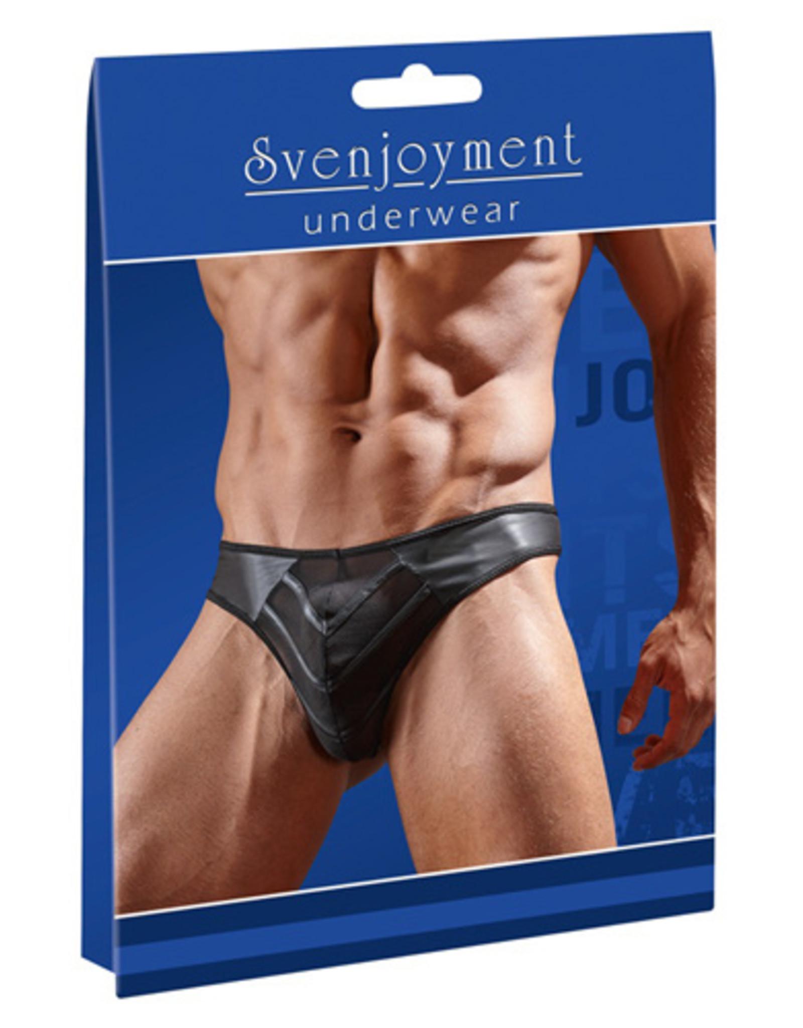 Svenjoyment Underwear Kunstleren String Met Netstof - Zwart