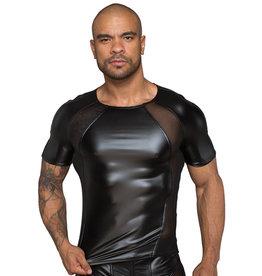 Noir Handmade Wetlook Shirt Met Netstof Gedeeltes