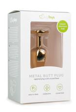 Easytoys Anal Collection Goudkleurige metalen buttplug met transparante steen