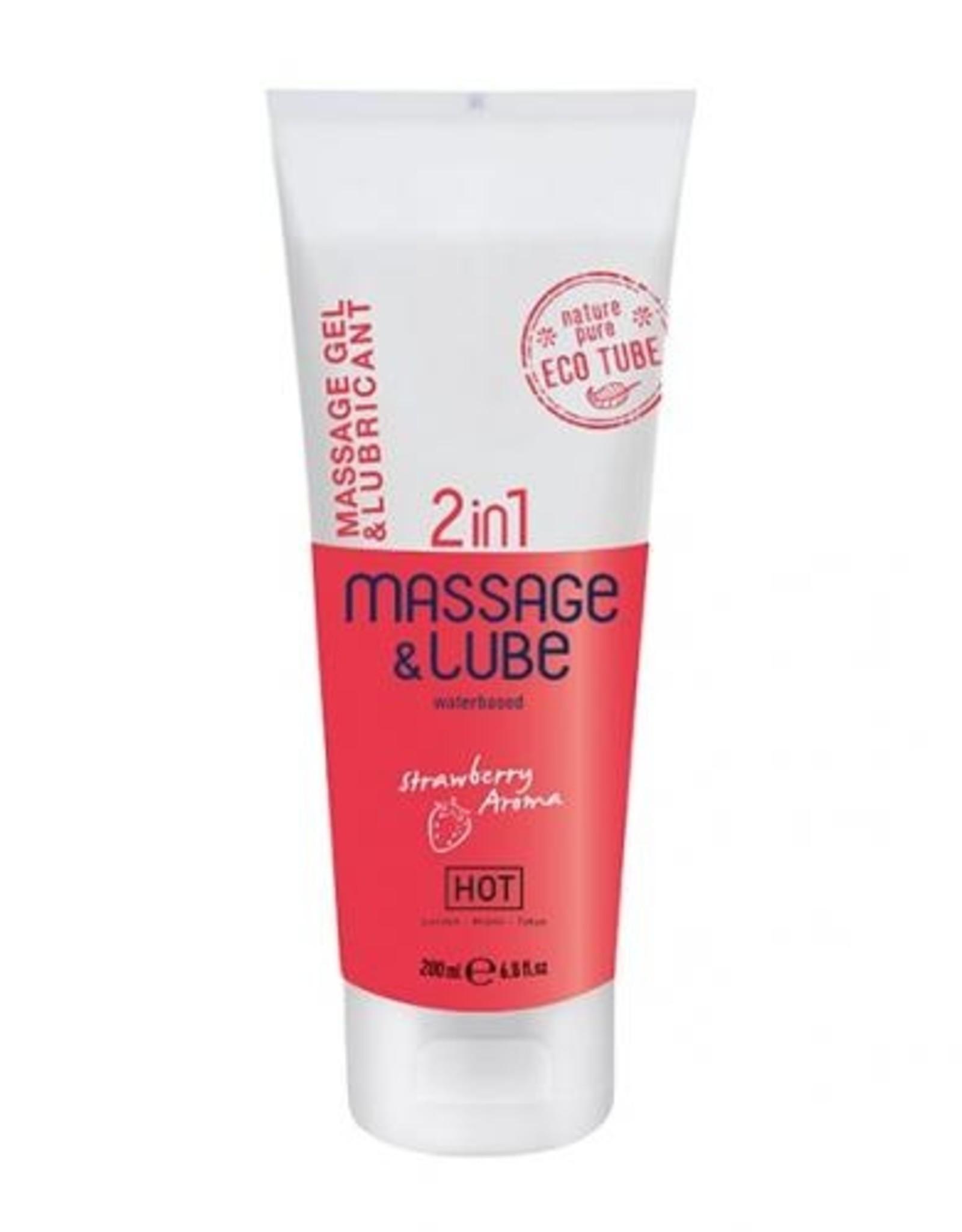 HOT Hot Massagegel & Glijmiddel 2in1 - Aardbei