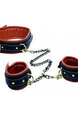 Master Series Coax Kunstleren Halsband + Boeien - Zwart/Cognac